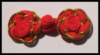 6 pairs red gold rose Chinese Frogs buttons - sewing