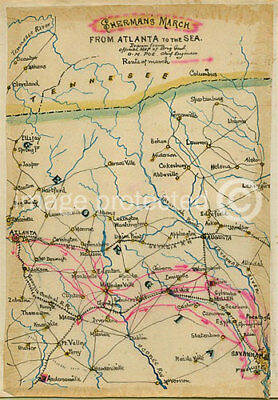 Vintage Reproduction Giclee'  US Civil War Map Georgia Shermans March 24x36 inch