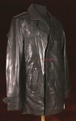 ab2c97ab9 ANTHONY BLACK MEN'S Smart Double Breasted Real Lambskin Leather Blazer  Jacket