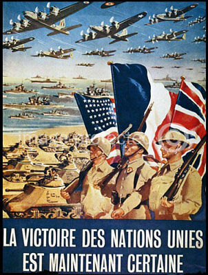 French WW2 Military CANVAS PRINT Certain Victory -24x36