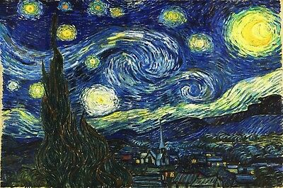 Starry Night Vincent van Gogh Poster of Painting Fine Art Giclee' 24x36 inch
