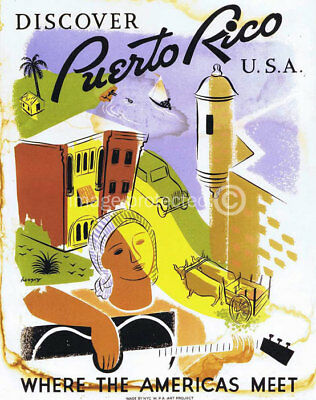 Discover Puerto Rico Vintage WPA Travel Poster -24x36
