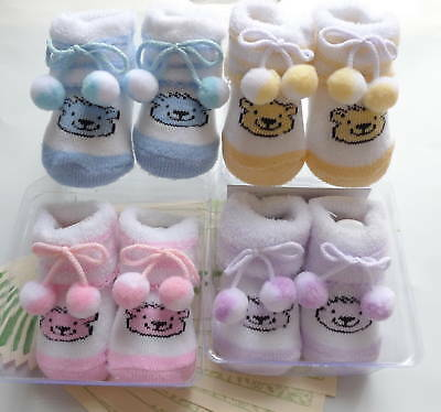 4 Pairs Baby Booties Bear Socks for newborn to 6M -NEW!