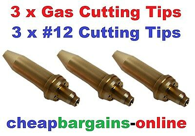 Gas Welding Cutting Tips 3 Tips #12 Type 41 Quality Nozzles For Oxy Acetylene Ki