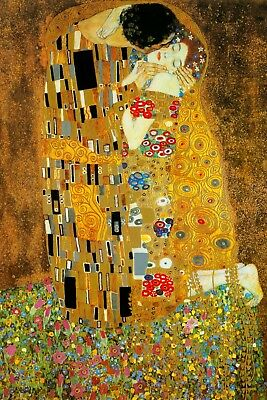 Gustav Klimt Art giclee' CANVAS PRINT The Kiss the lovers 18x24 inches