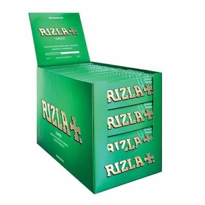 Rizla Green Rolling Papers 100 Packs Full Box Regular Size Cigarette Roll Paper