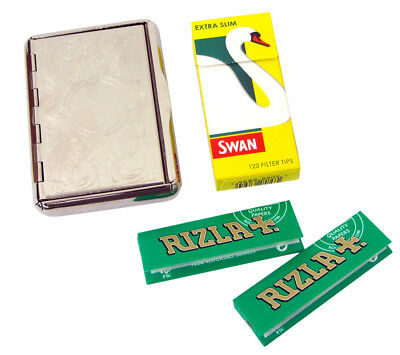 Metal Cigarette Tin Rizla Rolling Papers Swan Filter Tips Tobacco Case Green Kit