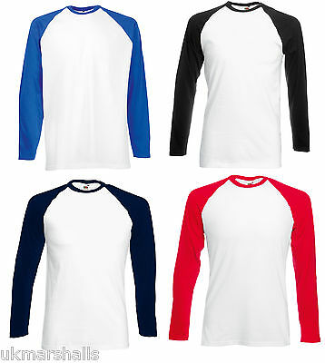 Fruit Of The Loom Classic Long Sleeve Contrast Baseball T-Shirt Tee Sports 61028
