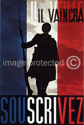 French WWII Army Military CANVAS PRINT Il Vaincra