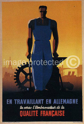 Vintage French Military CANVAS PRINT French Workmanship
