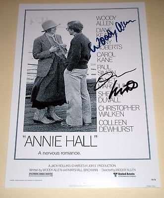"Annie Hall Cast X2 Pp Signed 12""x8"" Poster Woody Allen"