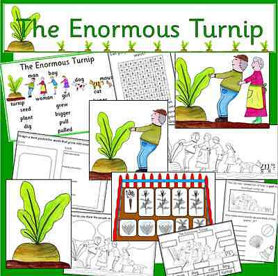 The Enormous Turnip -story sack resources on CD- growing, KS1, EYFS, teaching
