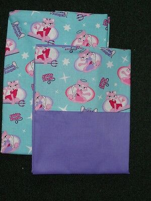 Crib/toddler Sheet 2Pc Set/cotton - Sweet Angel And Little Devil Kitty