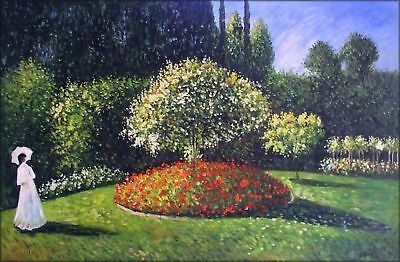 Hand Painted Oil Painting Repro Claude Monet Jeanne in the Garden 24x36in