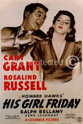 His Girl Friday Cary Grant Vintage Movie Poster -24x36
