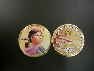2011 Native American Dollar Colorized On Both Sides