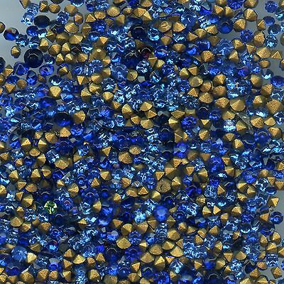 451023 *** 60 STRASS ANCIENS FOND CONIQUE MIX BLEU, 1,6/2,8mm