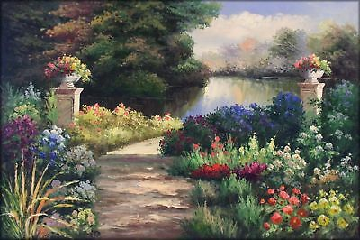 Quality Hand Painted Oil Painting Lakeside Flowering Garden 24x36in