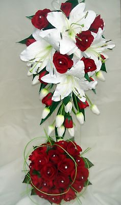 Wedding Bouquet Set,real Touch  White Lily & Red Roses