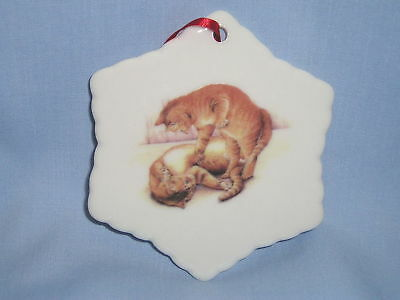 Orange Tabby Cats Playing Porcelain Snowflake Christmas Ornament Fired Decal