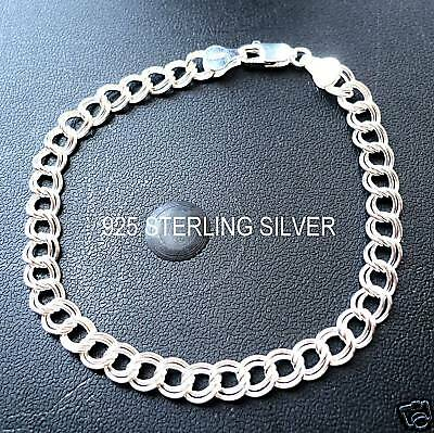 "925 Sterling Silver Double Link Charm Bracelet/7"" Or 8"""