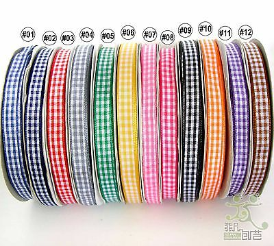 "5Yard Mixed Colors Gingham Ribbon Christmas (9mm) 3/8"" 12 Colors Craft Sewing"