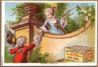 Victorian Trade Card-Babbitt's 1776 Powder-Man Giving Product to Woman w/ Fan
