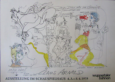 Claus ARNOLD (1919) , selbst bemaltes Plakat, Wuppertal 1978