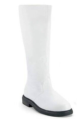 Mens White Captain Super Hero Zip Costume Dress Boots