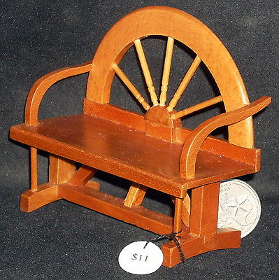 Wagon Wheel Bench 1:12 #T7200 @ 3 3/4L X 1 5/8D X 3 1/4 Dollhouse Miniature