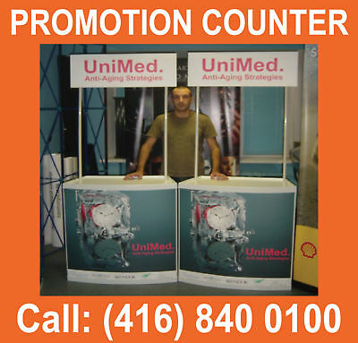2 SETS Trade Show Tables Receptions Counters Exhibit Kiosk Stand + FREE GRAPHICS