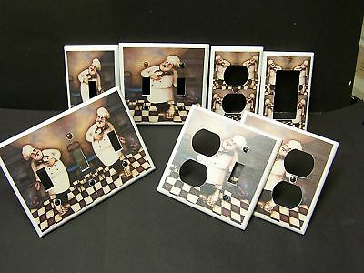 Fat Chef Singing With Cat Light Switch Cover Plate Or Outlet Cover Kitchen Decor