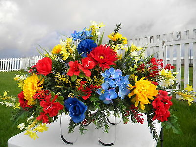 Thanksgiving Colorful Headstone Fathers Day Mom Son Grave Memorial Silk Flowers