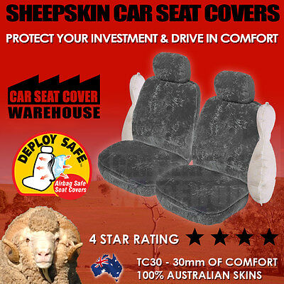 *NEW* TOP QUALITY SHEEPSKIN CAR SEAT COVERS TC 30mm AIRBAG AVAILABLE 5 COLOURS