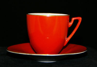 CARLTON WARE ART DECO RUST & MOTHER OF PEARL DEMITASSE