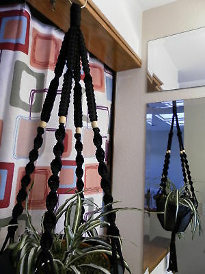 Macrame Plant Hanger BLACK 4 TAN BEADS