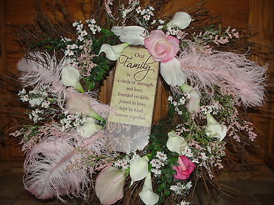 Wreath Silk Pink Calla Lilies Roses Angel Wing Feathers Dainty Girls Room Wall