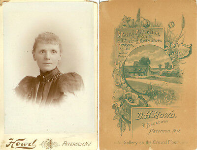 Lady From Late 1880S-Great Back Of Card, Patterson, Nj
