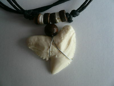 Large Resin Shark Tooth Surfer BoHo Hippy Necklace Adjustable Cord Limited Stock