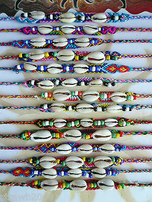 2 x Bright Colourful Wool Cowrie Shell Friendship Bracelet