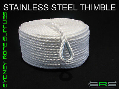100Mtrs X 8Mm Pe Silver Anchor Rope With Stainless Steel Thimble
