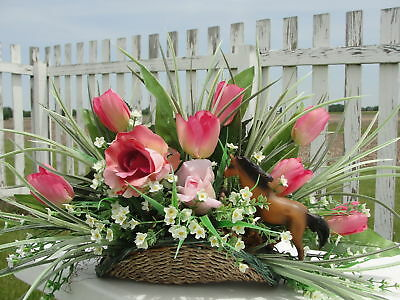 Specialty Party Birthday Horse Lovers Basket Silk Flower Arrangement Tulips