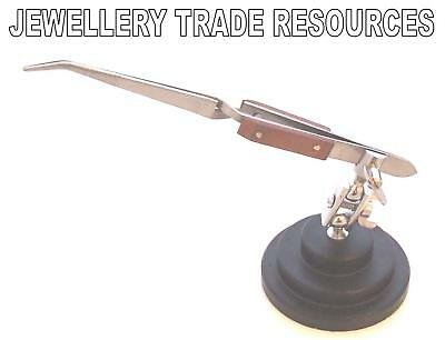 Jewellers Reverse Action Soldering Bent Nose Tweezers On Stand Jewellery