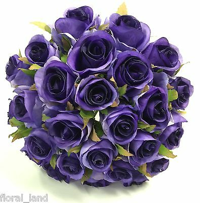 Silk Rose Roses Purple Violet Wedding Flowers Bouquet Artificial Pre Made Posy