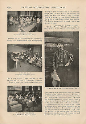 1905 Immigrants Night Evening School vintage article