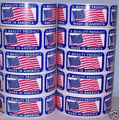 2500 1 x 2 MADE IN AMERICA  USA AMERICAN FLAG LABEL STICKER