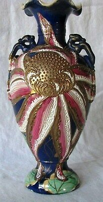 Antique Hand Painted Gold Gilt Cobalt Beaded Nippon Moriage Dragon Handle Vase