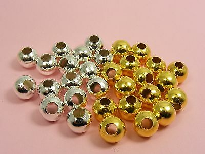 25 x Smooth ROUND Metal Spacer BEADS Findings ~5mm / 6mm / 8mm~ SILVER or GOLD P