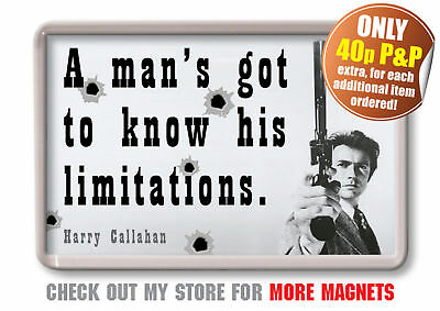 Dirty Harry Movie Quote Fridge Magnet - Clint Eastwood