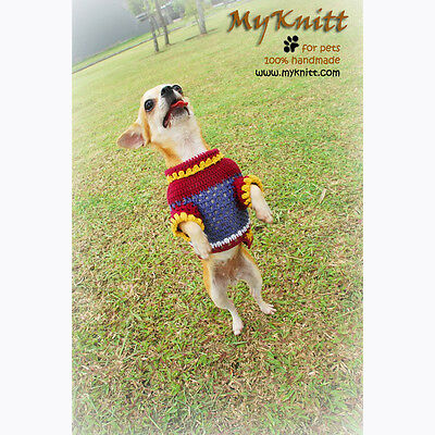 Dog Sweater Hand Knit Cotton Crochet Dog Clothing Puppy Pet Clothes DK817